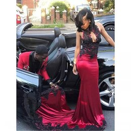 Wholesale Soft Pink Evening Dresses - Elie Saab Sexy Red Halter Soft Satin Mermaid Prom Dress Vestidos Fiesta With Black Applique African Women Evening Gowns Party Formal Dresses