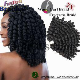 Wholesale Braided Water - 10inch freetress braid crochet hair bounce twist crochet braids synthetic braiding hair deep twist curly hair freetress water wave wand curl