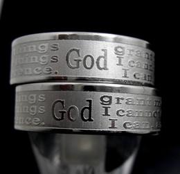 Стальное травление онлайн-Английский травлению Serenity молитвенные кольца из нержавеющей стали религиозные христианские кольца Вера Библия стих Оптовая мужчины женщины ювелирные изделия много
