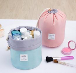 Wholesale Wholesale Drum Lighting - New Arrival Barrel Shaped Travel Cosmetic Bag Nylon High Capacity Drawstring Elegant Drum Wash Bags Makeup Organizer Storage Bag Case