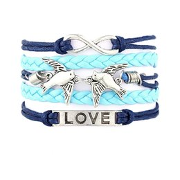Wholesale Metal Charms Wing - 2017 HOT Leather Wrap Bracelet DIY Alloy Infinity Bracelets Charm Anchor Bangles Crosses Heart Birds Tree Of Life Wings Metal Jewelry