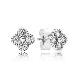 Wholesale Oriental Blossom Clear CZ Silver Stud Earrings For Women CZ