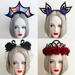 Wholesale Tiara Wreath Headband - 2017 Halloween Crown Masquerade Party Headband Punk Gothic Hairband Garland Wreath Headpiece Cosplay Show Headdress K023