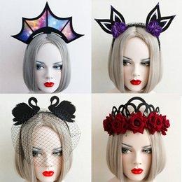 Wholesale Masquerade Headdress - 2017 Halloween Crown Masquerade Party Headband Punk Gothic Hairband Garland Wreath Headpiece Cosplay Show Headdress K023