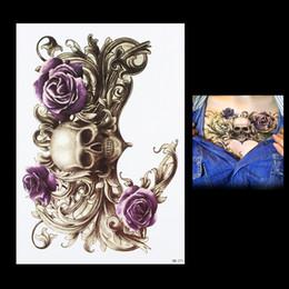 Wholesale flower tattoo body - Wholesale-1 PC Purple Waterproof Rose Flower Skull Picture Tattoo Design HB271 Temporary for Women Men Body Chest Waist Art Tattoo Sticker