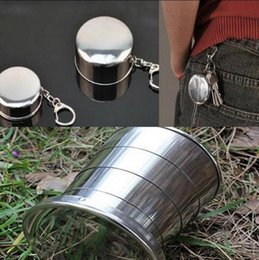Wholesale Stainless Steel Retractable Keychain - Outdoor Stainless Steel Retractable Portable Folding Cup Keychain Telescopic Collapsible Sports Camping Travel Hiking Mug OOA1130