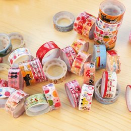 Wholesale Tape Decorative Stickers - Wholesale- 2016 kawai washi masking tape papeleria cintas decorative tapes washitape masking sticker set cartoon fita adesiva mini dispens