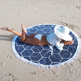 Wholesale Thin Cotton Blanket - 4 Style Thin Cotton Towel with Tassel Mandala Tapestry Round Beach Towels Yoga Mat Beach Cover Up Blanket Drop Ship