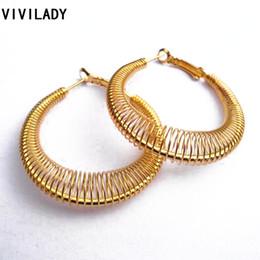 Wholesale Nickel Lead Free - VIVILADY Fashion New Lead Nickel Free Women Gold Plated Spring Hoop Earrings Trendy Jewelry Bijoux Accessory Birthday Party Gift