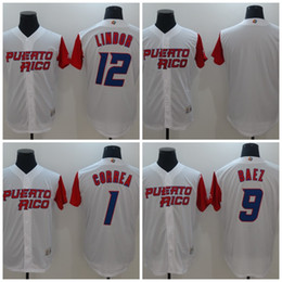 Wholesale free shipping world - #1 Carlos Correa 2017 World Baseball Classic #9 Javier Baez #12 Franciscolindor Men Stitched Puerto Rico Baseball Jersey Free Shipping