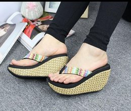 Wholesale Free Slope - summer Fashion new Women's slippers Bohemia overheight with sandals Slope with Non-slip Waterproof Beach flip-flops Free shipping