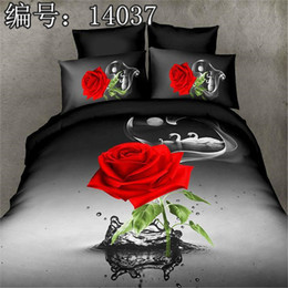 Wholesale Full Flat Sheets - 3D Red Rose Bedding Set of 4PC Duvet Cover Set Quilt Cover Flat Sheet Pillowcase Full Queen Size HD Printing Design