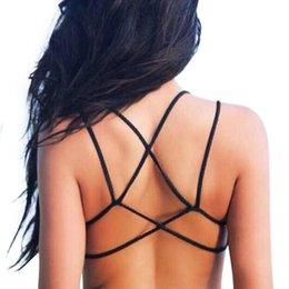 Wholesale Top Bra Styles - Wholesale-Summer Style Women Sexy Bralet Strappy Bra White Camis Backless Short Tanks Brand Fitness Bustier Crop Tops Beach