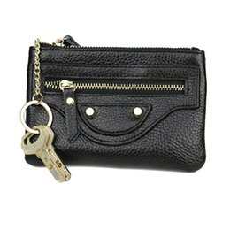 Wholesale Wholesale Leather Small Coin Pouches - Wholesale- Genuine Leather Coin Purse Zipper Coin Pouch Women Coin Wallet Change Pocket Key Motorcycle Small Bag monederos mujer monedas