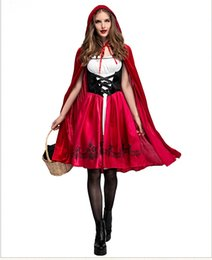 Wholesale Anime Princess Cosplay - Women Fairy Tales Little Red Riding Hood Costume Red Cap Cloak Adult Anime Cosplay Cape Clothing 2017 Halloween Party Dress