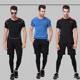 Wholesale Tight Mens Suit - 3 Pieces sets Mens Sports Suits Running Clothes For Men Short Compression Tights Gym Fitness T Shirt Cropped Pants Quick Dry Sets