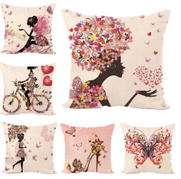 Wholesale Princess Throw - Girl Cushion Cover Flowers Fairy Princess Pink Love Throw Pillow Covers Flower Angel Pillowcase Linen Cotton Bedroom Decoration
