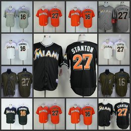 Wholesale Miami Marlins Giancarlo Stanton Jose Fernandez white orange black green salute to service Baseball Jerseys Stitched jersey