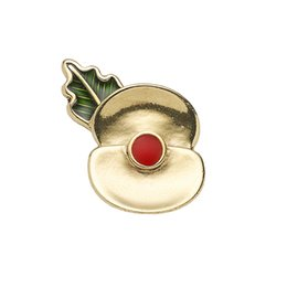Wholesale Red Poppy Brooch - 4 5 Inch Gold Tone 2017 Passchendaele 100 Poppy Floral Brooch Lapel Pin Rememrance Day Gifts