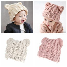 Wholesale Crochet Cat Hats - Baby Cat Ears Hats beanies 2017 new Winter Kids warm Caps Children Hats Handmade Girls Hats Toddlers slouchy Beanies for Baby Photo Props