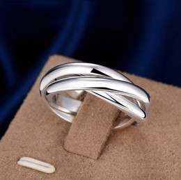 Wholesale Stainless Steel Infinity Ring - hot selling Sliver Plated tripleinterwoven band infinity ring statement three thumb Winding for girlfriend boyfriend birthday gift