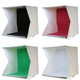 Wholesale Soft Box Large - Wholesale- 2017 NEW Large (40x40x40cm) Folding Studio Diffuse Soft Box with LED Light Black White Background Photo Studio Accessories