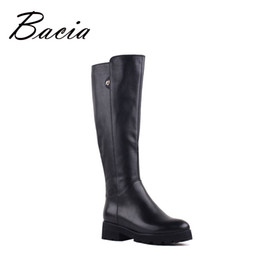 Wholesale Wool Boots For Women - Wholesale- Bacia Genuine Leather Boots Knee-Length Winter Boots For Women Warm Wool Fur Shoes Platform Long Boots Low Heels New 2016 VF002