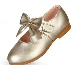 Wholesale Ballet Shoes Girls - 2017 Fashion Girls Casual Shoes Bowtie PU Leather Shoes for Girls Princess Ballet Flats for Party Wedding Girls Shoes