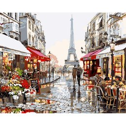 Wholesale Kids Wooden Numbers - Eiffel Tower Street View Oil Painting Wooden Unframed Paint by Number or Not Diy painting by Numbers - for Adults Girls Kids White Christmas