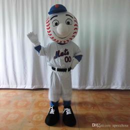 Wholesale Tennis Ball Mascot - Light White Baseball Tennis Tenis Ball Mascot Costume Sports With White Sports Wear Globe Nose Blue Sleeves Smile