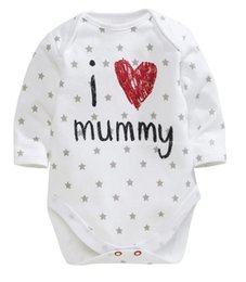 Wholesale I Love Daddy Baby - I Love Daddy Mummy Kids Clothes New Long Sleeve Cotton Baby One-piece Children Clothing Romper Girls Rompers Jumpsuit
