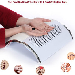 Wholesale Nail Art Dust Suction - Wholesale- Nail Fan Art Salon Suction Dust Collector Machine Vacuum Cleaner With 3 Fans + 2 Bags Acrylic UV Gel Machine Nail Dust Collector