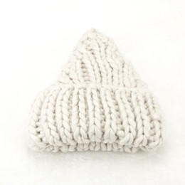 Wholesale Coarse Yarn - The new Korean lady all-match curling warm wool cap in autumn and winter coarse wool knitted hat color pointy nipple thickening trendy hat