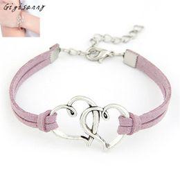 Wholesale Fashion Bracelets Online - Wholesale- Gigisanny 1PC Women's Fashion Love Heart Handmade Alloy Rope Charm Jewelry Weave Bracelet Gift Online Free Shipping,Oct 13