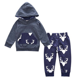 Wholesale Cool Baby Clothes Boys - Baby Clothing Boys Sets Two Piece Hoodied and Long Pants Solid Animal Printed Long Sleeve Cool Cotton Children Clothes