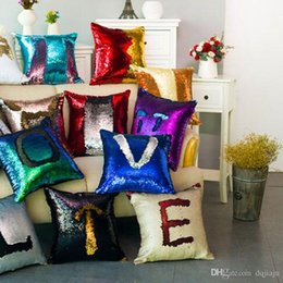 Wholesale Silver Cushions Covers - Sequin Pillow Case Sequin Pillowslip Pillow Mermaid Pillow Covers Case Reversible Cushion Cover Home Sofa Car Decor Free Shipping