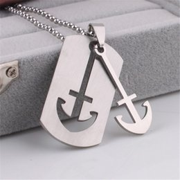 Wholesale Mens Anchor Necklaces - Wholesale-ER 2016 New Cheap Mens Anchor Necklace Male Collares Vintage Neckless Colar Masculino Stainless Steel Jewerly PN001