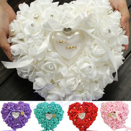 Wholesale Heart Shape Pillow Wedding - Elegant Rose Wedding Favors Heart Shaped Design Gift Ring Box Pillow Cushion Wedding Decor Party Supplies For Bridge