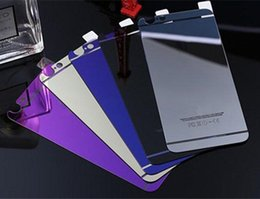 Wholesale Iphone Colored Mirror Screen Protector - For iPhone7 7plus 6s 6G Colored Tempered Glass Film Guard Screen Protector Explosion Proof 9H iPhone 5s 5G Plating Membrane Front and Back