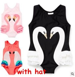 Wholesale Animal One Piece Swimsuit - Baby Girl Swimwear One Piece with Hat 2017 Summer Swan Flamingo Swiming Suits Ruffle Swan Bathing Suits Girl One Piece Swimsuit Beach Wear