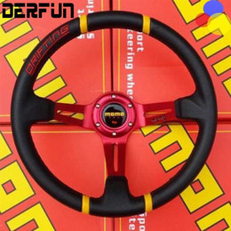 """Wholesale Speakers Wheels - Universal Leather 14"""" 35cm Modified Car Steering Wheel Four Speakers For Momo Four Colors Free Shipping"""