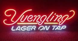 Sinais neon comerciais personalizados on-line-Yuengling Lager On Tap Sinal de Néon Personalizado Personalizado Tubo De Vidro Real loja de Cerveja Loja Bar Pub Clube Exibição Comercial Sinais de Néon Luz 17''X12 ''