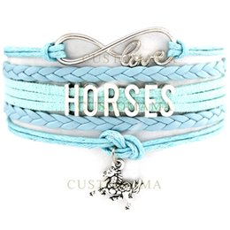 Wholesale blue light themes - Custom-Infinity Love Horses Multilayer Wrap Bracelet Horse Charm Bracelet Light Blue Wax Suede & Leather Custom any Themes