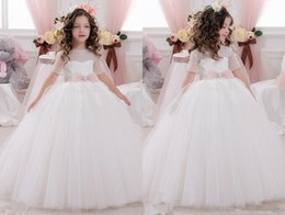 Wholesale Cheap Fluffy White Princess Dress - 2017 Cheap White Christmas Flower Girl Dresses Short Sleeve Lace Ball Gowns Wedding Ruched Lovely Bow Sash Fluffy girl Pageant Dress
