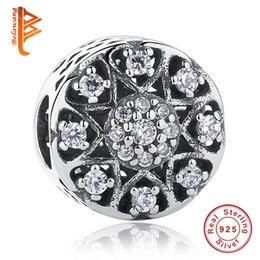 Wholesale Pattern Carving - BELAWANG Wholesale Fit Original Pandora Charm Bracelets&Bangles DIY Jewelry 925 Sterling Silver CZ Round Charms Beads Carved Heart Pattern