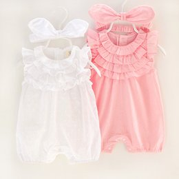 Wholesale White Sleeveless Onesies - Newborn Clothing Rompers For Babies Girls Lace Romper With Headband baby Jumpsuit Baby One Piece Clothing Infant Clothes Baby Onesies A733