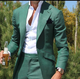 Wholesale Stylish Spring Mens Jackets - 2017 Latest Design Mens Dinner Party Prom Suits Groom Tuxedos Groomsmen Wedding Blazer Suits Stylish Green (Jacket+Pants)