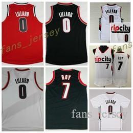 Wholesale Basketball Jersey Material - Sale RipCity 0 Damian Lillard Jersey Men 7 Brandon Roy Shirt Rip City Uniforms Rev 30 New Material Team Color Retro Red White Black