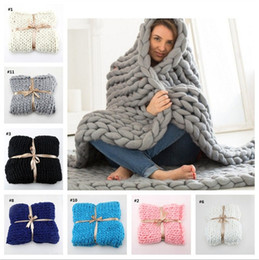 Wholesale Handmade Wool Blankets - New style 50*60cm Bold lines blanket Hand knit household blanket Adult children Wool carpet life supplies IA776