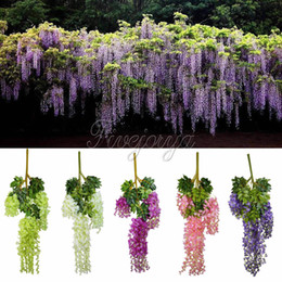 Wholesale Wreaths Hanging - Wholesale-12pcs 105cm Silk Artificial Hanging Flower Silk Wisteria Plants Fake Flower Decorative Flower Wreaths for Wedding Home Decor